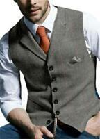 Men's Plaid Retro Vests Wool Herringbone Tweed Waistcoat Suits Lapel Jacket Chic