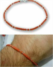 Bracelet for Man Red coral in 925 Sterling Silver Natural REAL and of Gemstone