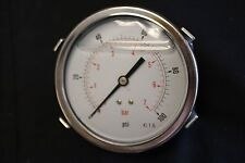"Pressure Gauge MPG-2P-100-B, 1/4"" NPT Back Mount 100PSI - 7 BAR, Liquid Filled"