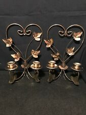 Homco Home Interiors Gold Brass Double Sconce Tall Leaves Candle Holder B17