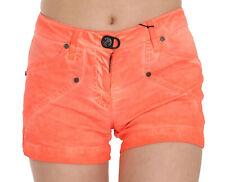 PLEIN SUD JEANIUS Shorts Orange Mid Waist Cotton Denim Mini IT38/US4/XS