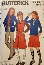 Vtg Butterick pattern 3312 Girls' lined Jacket, fitted Vest, Skirt, Pants size 8