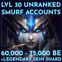LEGENDARY League of Legends Unranked Smurf Account Lvl 30 NA 60,000 - 75,000+ BE