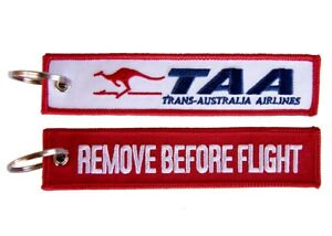 Trans Australia Airlines TAA Remove Before Flight Key Ring Luggage Tag - NEW
