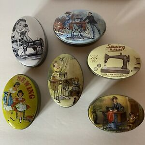 Sew Tasty Vintage Dressmaker Small Oval Sewing Tins Accessories Storage Craft