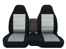 2004-2012 FORD RANGER 60/40 HIGH BACK CAR SEAT COVERS black-silver