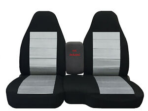 Designcovers Fits 2004-2012 FORD RANGER 60/40 HIBACK SEAT COVERS BLK-SILVER INS