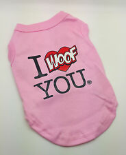 SMALL 25CM PINK I WOOF YOU DOG TOP SHIRT JUMPER CHIHUAHUA YORKIE PUPPY TOY JACK