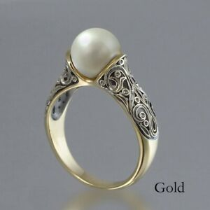 Women Jewelry Gorgeous White Pearl Wedding Jewelry 18K Gold Rings Size 6-10
