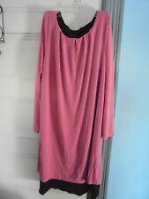 CITIKNITS by QVC 2-layer knit DRESS Size L New w/Tag Pink & brown