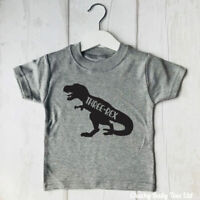 Third Birthday Three Rex Girls Boys T Shirt, 3rd birthday top,Dinosaur,4 colours