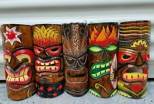 """SET OF (5) HANDCARVED 12"""" WOOD TIKI MASKS WITH PROTECTIVE WEATHER COATING!!!!!"""