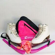Graf Bolero Cristal Ice Skates White Size UK 6 EU39 + Bag + Skate Covers