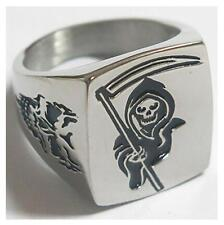 GRIM REAPER SICKLE STAINLESS STEEL RING size 9 silver metal S-510 skull face NEW