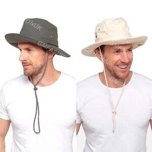 Mens Australian Outback Safari Aussie Bush Hat Summer Sun Protection Wide Brim