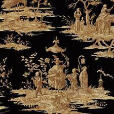 Wallpaper Designer Golden Tan Brown Asian Toile on Black