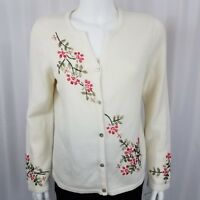 Norm Thompson Women's Sweater Size Small Button Down Embroidered Cream