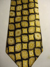 Gap Black Tan Gold White Fancy Checker Designs Silk Tie 57""