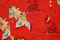 Mens Volcano Hawaiian Shirt Size Large Floral Tropical Print by ISLAND BLUE