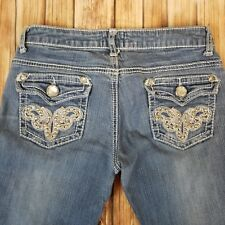 Twelve K Los Angeles Juniors size 3 cropped jeans bling studs thick stitch