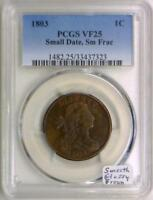 1803 Large Cent PCGS VF-25; Small Date, Sm Frac; Smooth Glossy Brown!