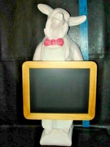 "CHEF Fleur de Lis? 20""  Pink & White Pig Chef Standing Chalkboard Display"
