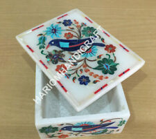 """4""""x3""""x2"""" White Marble Jewelry Box Lapis Bird Marquetry Floral Inlay Gifts H1487"""