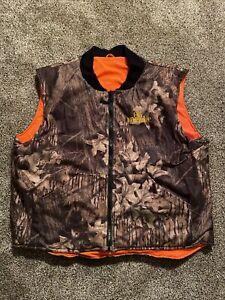 Vtg CABELAS Old Milwaukee Beer Logo Reversible Hunting Vest Camo/Orange Men's XL