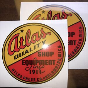 """Atlas Quality Shop Equipment Reproduction Tool Lathe Decals 3 1/2"""" Set Of 2"""