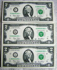 $2 *STAR NOTES* Uncirculated All SAME Serial #'s 00000393 C,K,L Districts 2003
