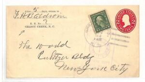 USA *Grassy Creek* Duplex Postmark Postal Stationery Cover PTS 1918 AX63
