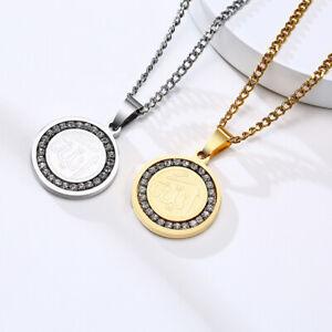 Religious Muslim Islam Allah Coin Pendant Men Necklace Cubic Zirconia Stone Gift