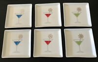 Crate and Barrel Christmas Cheer Drink 6 Plates Appetizer Christmas White Square