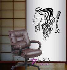 Vinyl Decal Wall Sticker Woman Scissors Comb Hair Styling Hair Salon Beauty 18