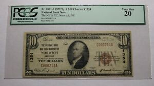 $10 1929 Norwich New York NY National Currency Bank Note Bill Ch #1354 VF20 PCGS