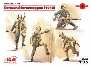 German Sturmtruppen (1918) 4 Figures with Weapons and Equipments 1/35 ICM 35692