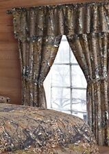 THE WOODS CURTAINS 5 PC SET AND VALANCE DRAPES NEW NATURAL WOODS CAMOUFLAGE