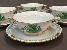 Herend #743 Green Chinese Bouquet Footed Cream Soup Cup & Saucer
