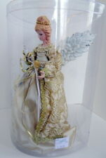 12� Gold Brocade Christmas Angel 10 Light Tree Top / Table Glenhaven New In Box
