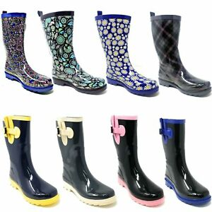 """Women Rubber Rain Boots - Ladies Mid-Calf 11"""" Two-Tone Waterproof Garden Wellies"""