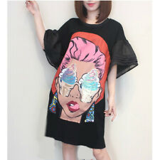 Black oversized dress lady with a sequined icecream glasses and tiered sleeves