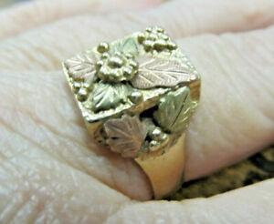 Estate 10k Rose Green Yellow Tri Gold Rectangle BLACK HILLS GOLD RING 6.7 grams