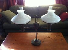 Large Antique Double Student Lamp w/white Shades converted oil to electric