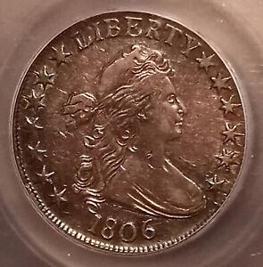Antique 1806 DRAPED BUST Pointed 6 No Stem Silver 50c Half Dollar Graded EF XF40