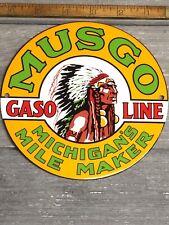 VINTAGE MUSGO GASOLINE PORCELAIN SIGN GAS STATION PUMP PLATE MINT CONDITION