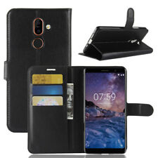 For Nokia 7 Plus, Classic Flip Leather Wallet Stand Magnetic Case Full Cover