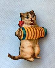 Cat Playing Accordian Brooch or Scarf Pin Wood Accessories NEW Brown Fashion
