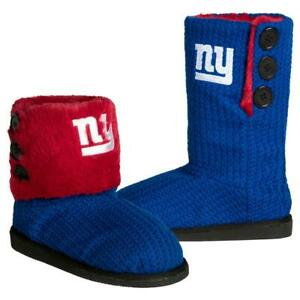 NFL New York Giants Knit Team Color High End Button Women Boot Slipper - L Size