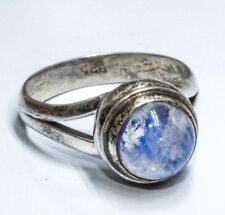 Sterling Silver Ethnic Asian Vintage Style Rainbow Moonstone Ring Size L Gift