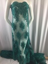 Embroidered Fabric Mesh Lace With Sequins Beaded Wedding Dress Teal The Yard